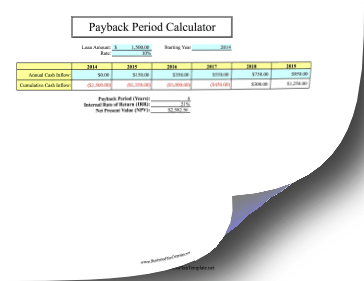 Payback period for Payback period template