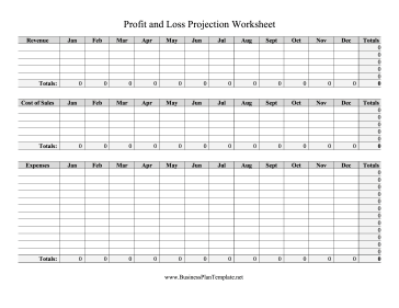 Profit and Loss Projection Worksheet template