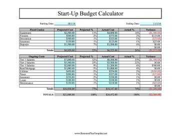 start up costs template