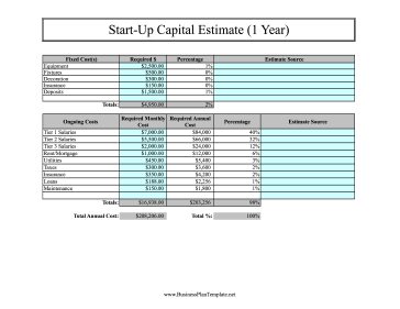 start up capital template - start up capital estimate